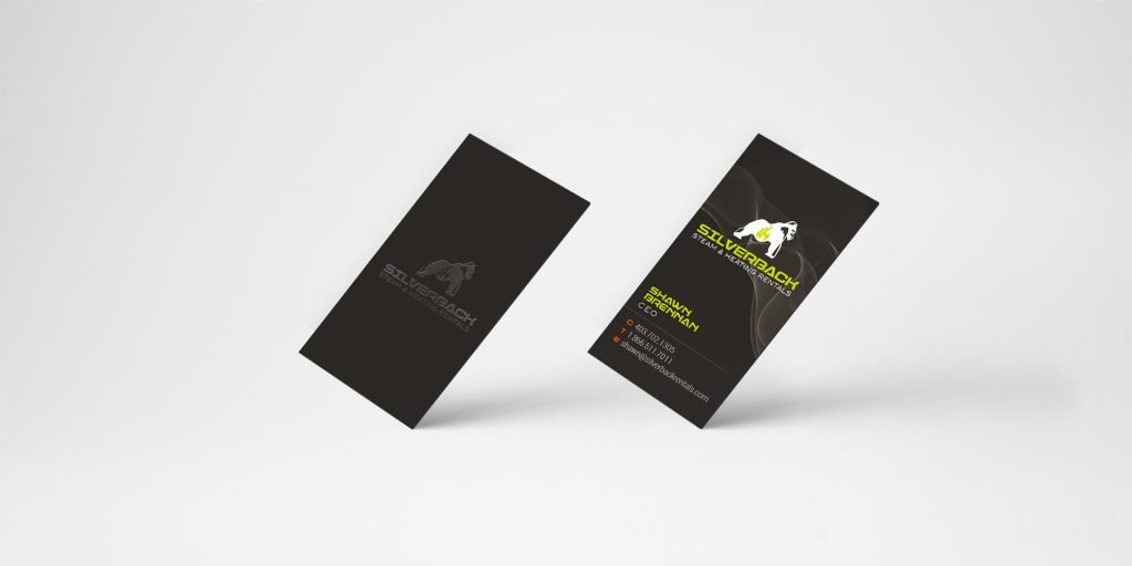 example of design of the front and back of Silverback's business cards