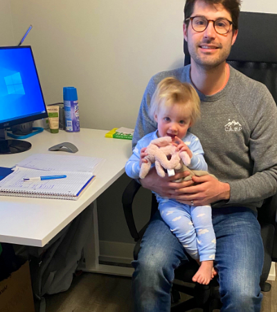 Work-from-home: Ben at his home desk with his daughter
