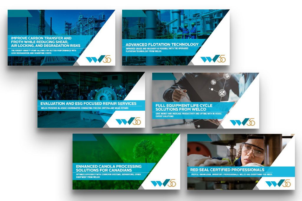 Ad layout featuring copy and creative assets compiled with various designs for our client, Welco.