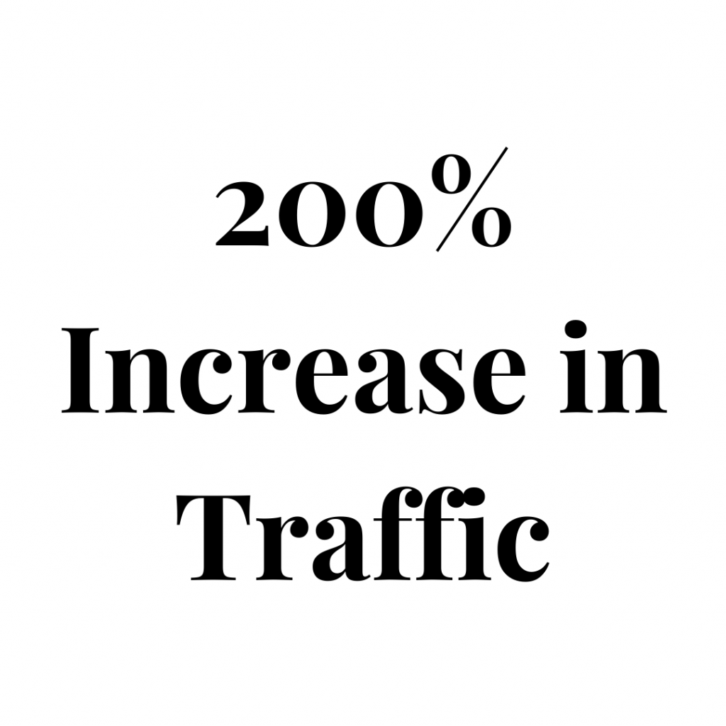 200% increase in traffic to website.